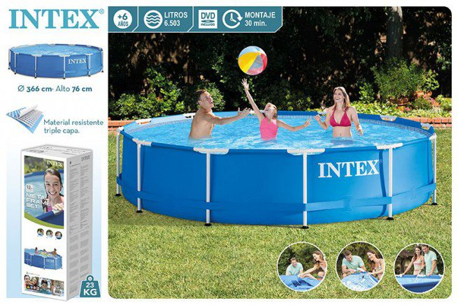 Бассейн каркасный 366х76см, Metal Frame Pool intex 28210